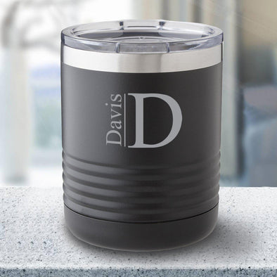 Personalized 10 oz. Tumbler - Black - Modern - JDS