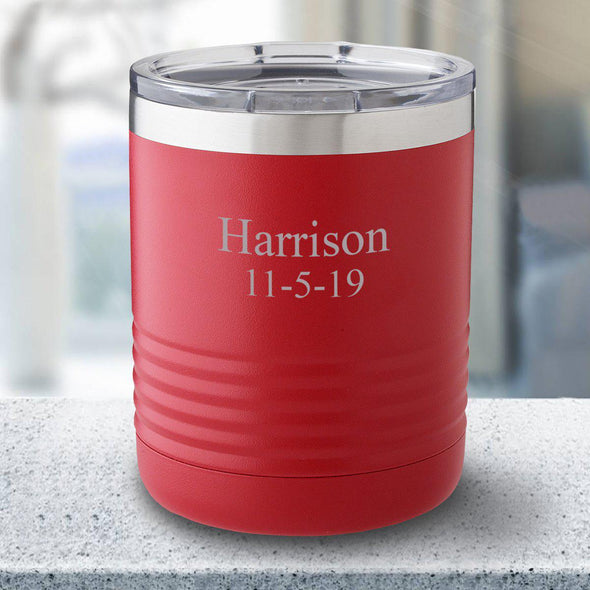Personalized 10 oz. Tumbler - Red - 2Lines - JDS