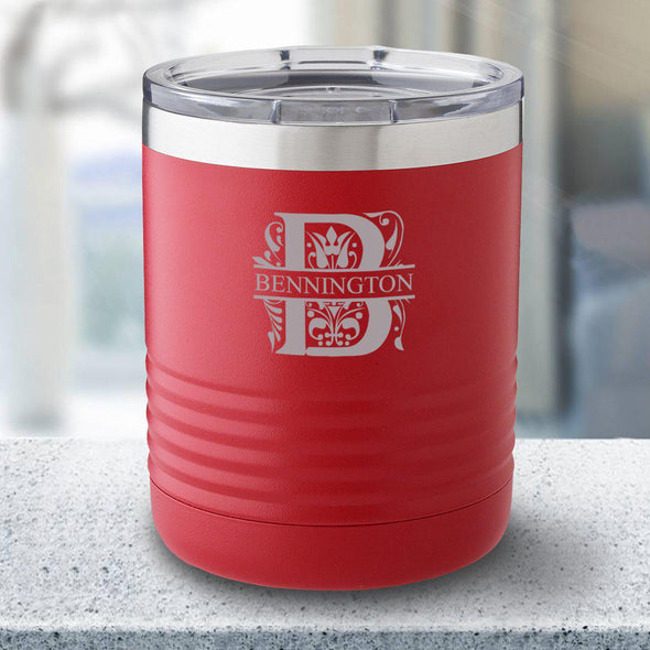 Personalized 10 oz. Tumbler - Red - Filigree - JDS