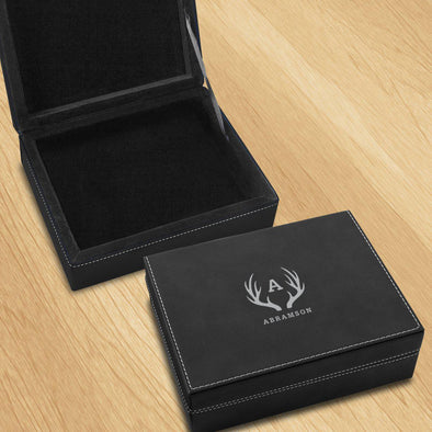 Personalized Leatherette Black Valet Box -  - JDS