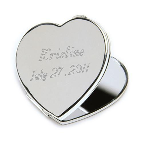 Personalized Heart Shaped Compact Mirror - Silver Plated