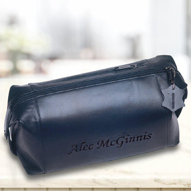 Personalized Leather Shaving Toiletry Bag -  - JDS
