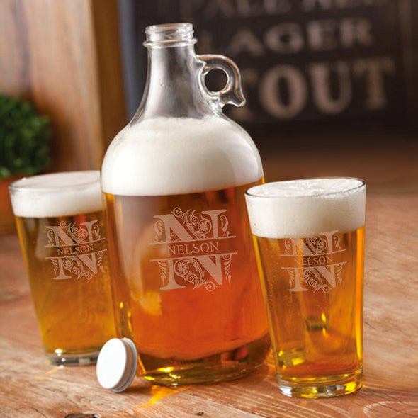 Personalized Growler Set with 2 Pint Glasses - 64oz. - Filigree - JDS
