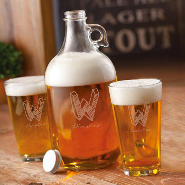 Personalized Growler Set with 2 Pint Glasses - 64oz. - Kate - JDS
