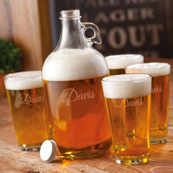 Personalized Growler Set with 2 Pint Glasses - 64oz. -  - JDS