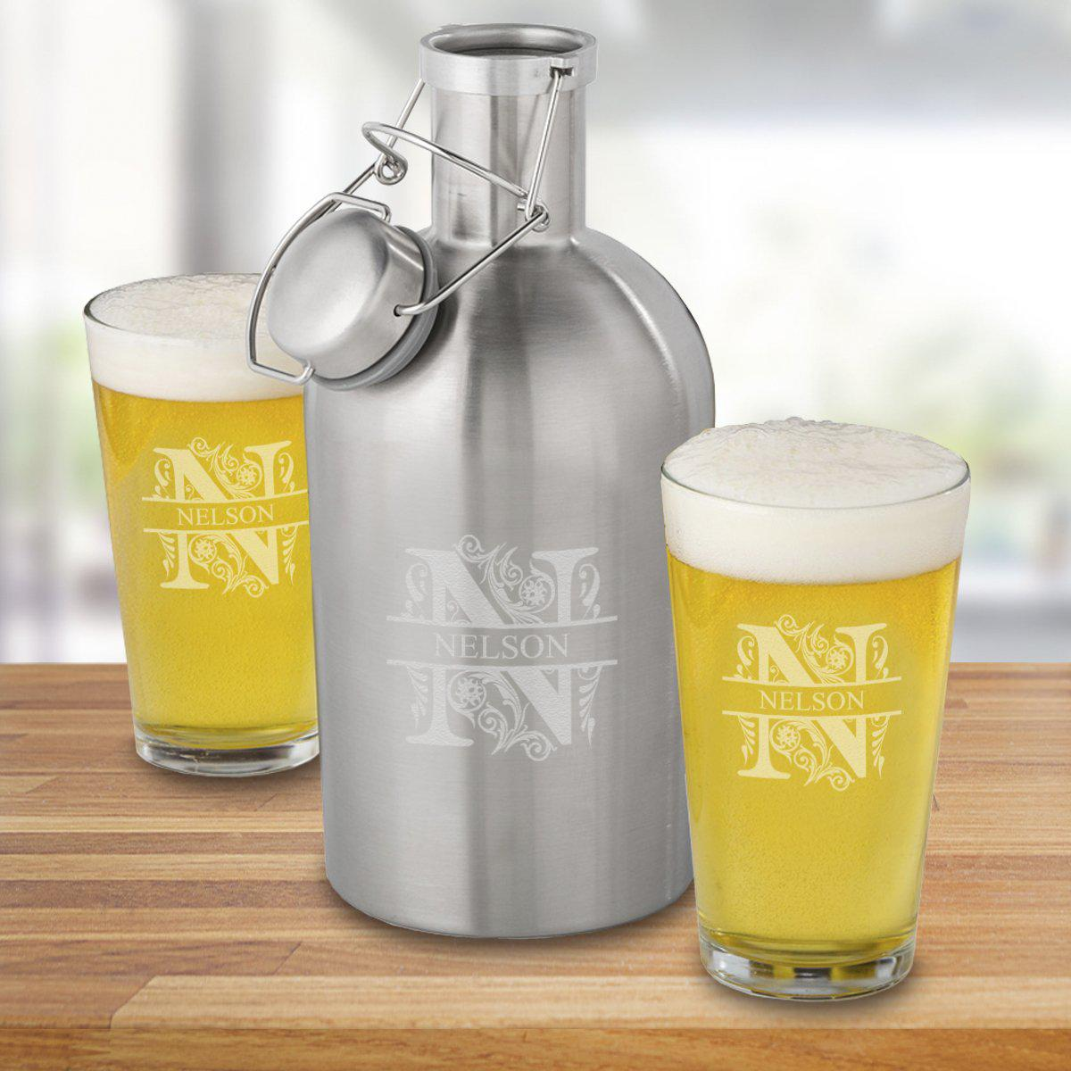 Personalized Stainless Steel Growler with 2 Pint Glasses