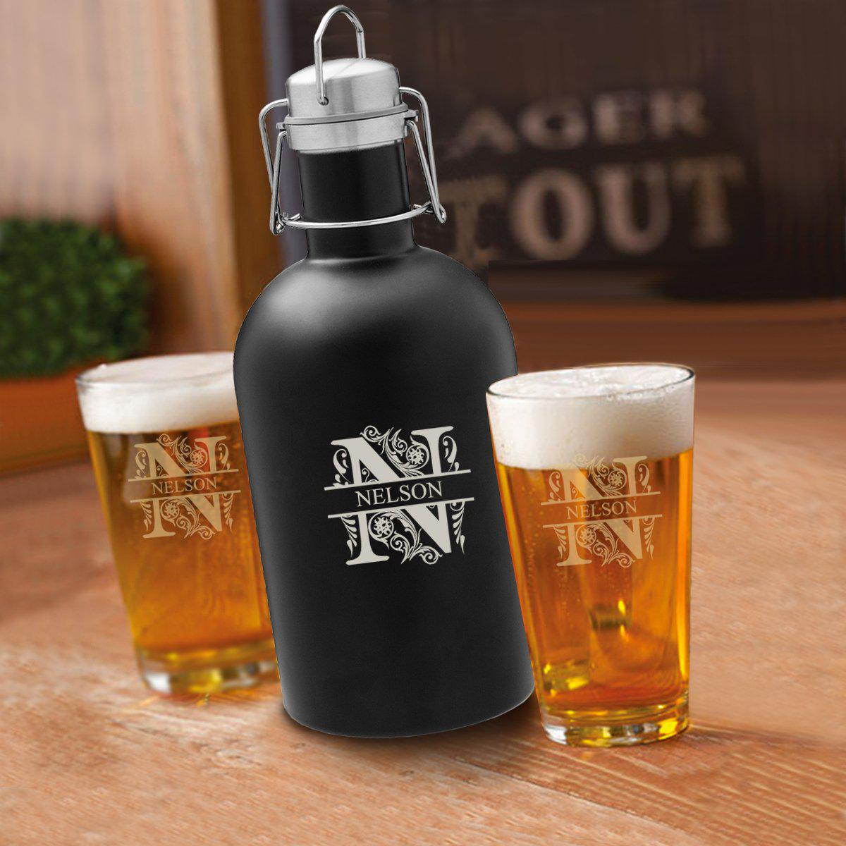 Personalized Black Growler Set with 2 Pint Glasses - 64oz.