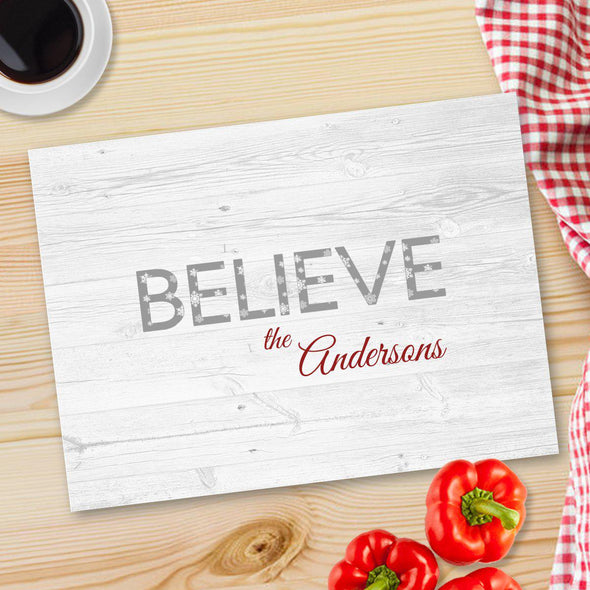 Personalized Christmas Glass Cutting Board - 12 designs - Believe - JDS