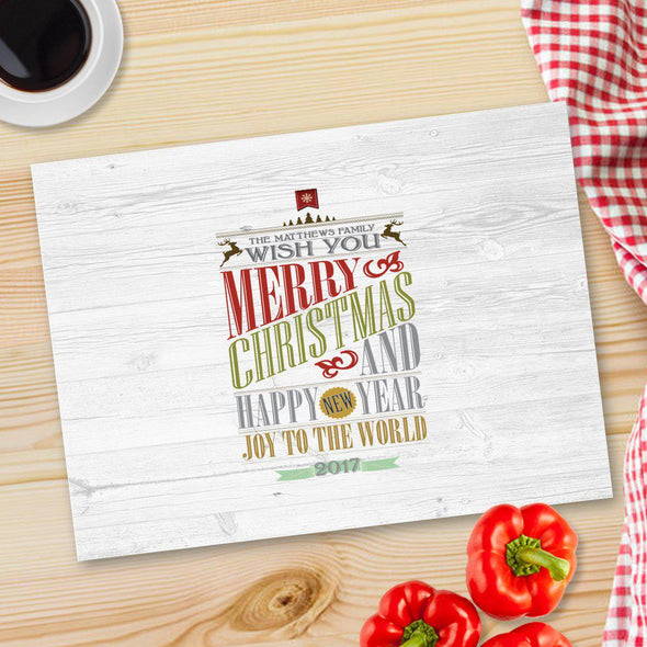 Personalized Christmas Glass Cutting Board - 12 designs - CMASWORDS - JDS