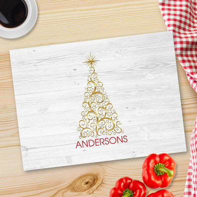 Personalized Christmas Glass Cutting Boards - Gold Tree - JDS