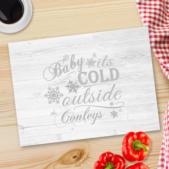 Personalized Christmas Glass Cutting Board - 12 designs - Its Cold - JDS