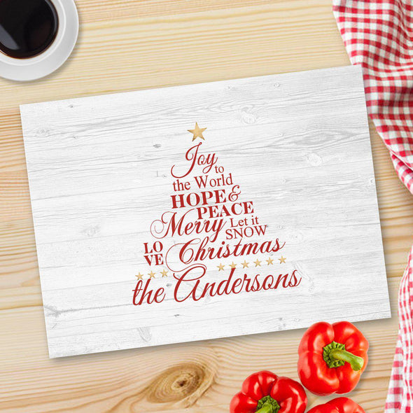 Personalized Christmas Glass Cutting Board - 12 designs - Joy - JDS