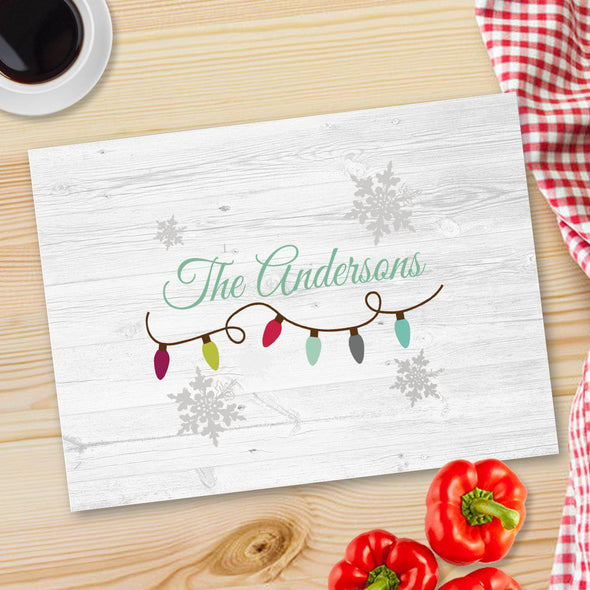Personalized Christmas Glass Cutting Board - 12 designs - Lights - JDS