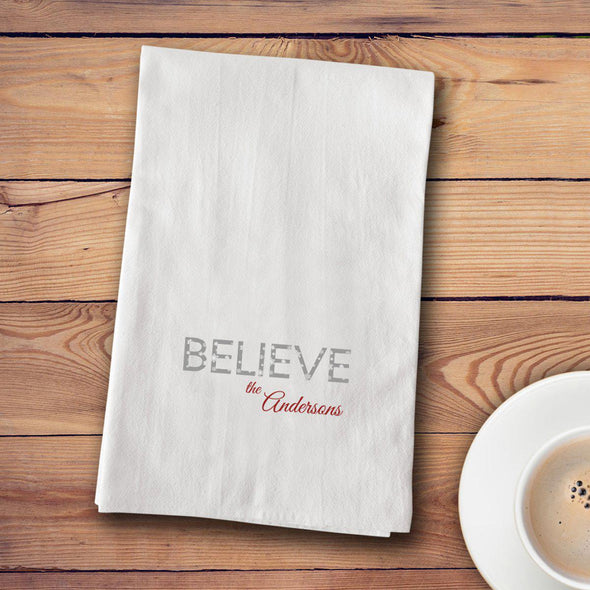 Personalized Christmas Tea Towels - 12 designs - Believe - JDS