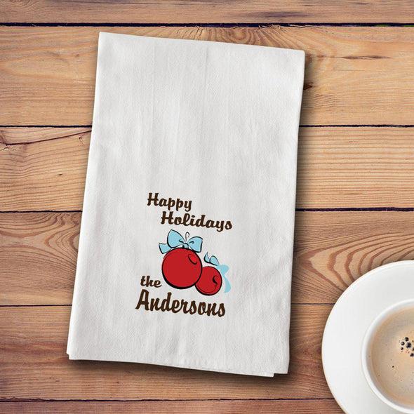 Personalized Christmas Tea Towels - 12 designs - Xmas Bulbs - JDS
