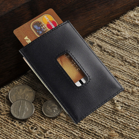 Personalized Wallet Money Clip - Leather Credit Card Holder -  - JDS