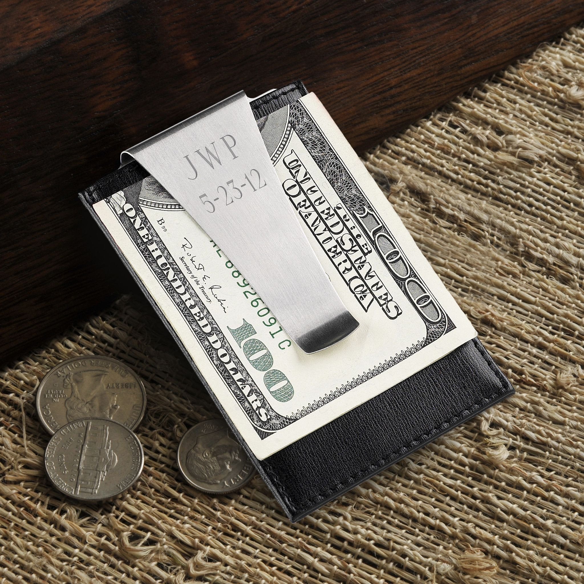 Personalized Wallet Money Clip - Leather Credit Card Holder