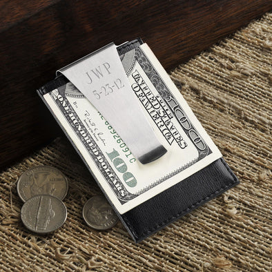 Personalized Gray Stripes Genuine Leather Money Clip