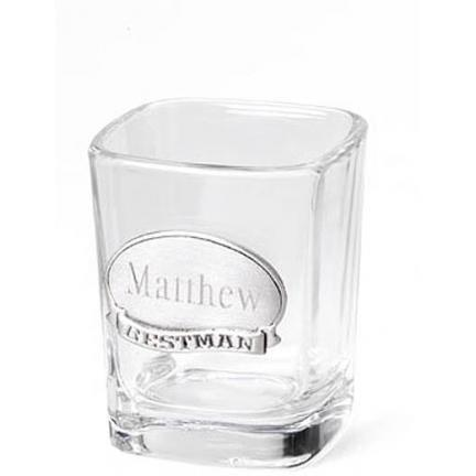 Personalized Shot Glass w/Pewter Medallion -