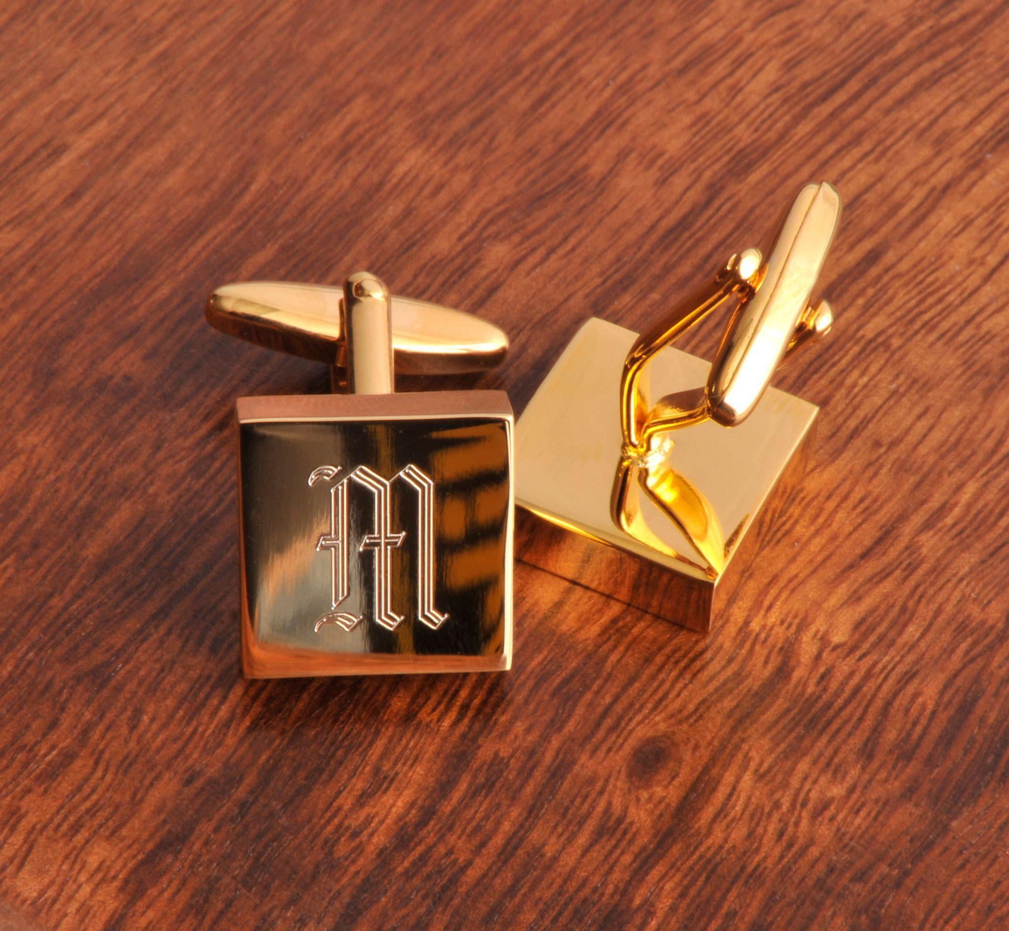 Personalized-Cufflinks-Brass-High-Polish-Monogram