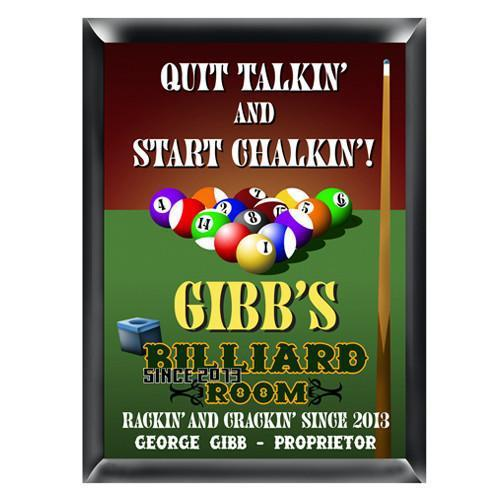 Personalized Billiards Traditional Pub Sign
