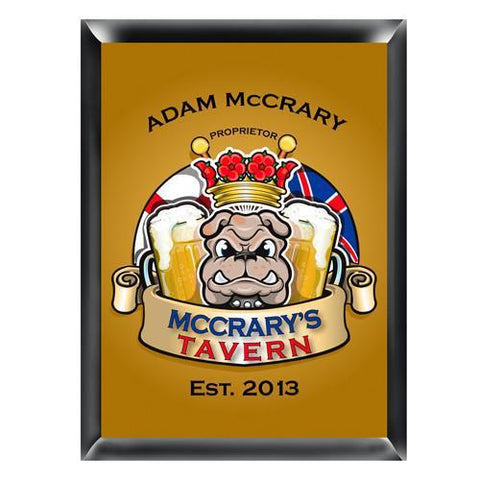 Personalized Traditional Pub Sign - Bulldog -