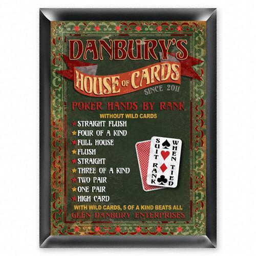 Personalized Traditional Bar Signs - Personalized Pub Signs - House of Cards - JDS