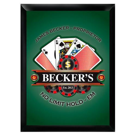 Personalized Traditional Bar Signs - Personalized Pub Signs - Poker