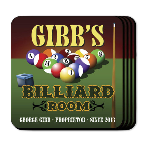 Personalized Coaster Set - Billiards - Personalized Barware - AGiftPersonalized