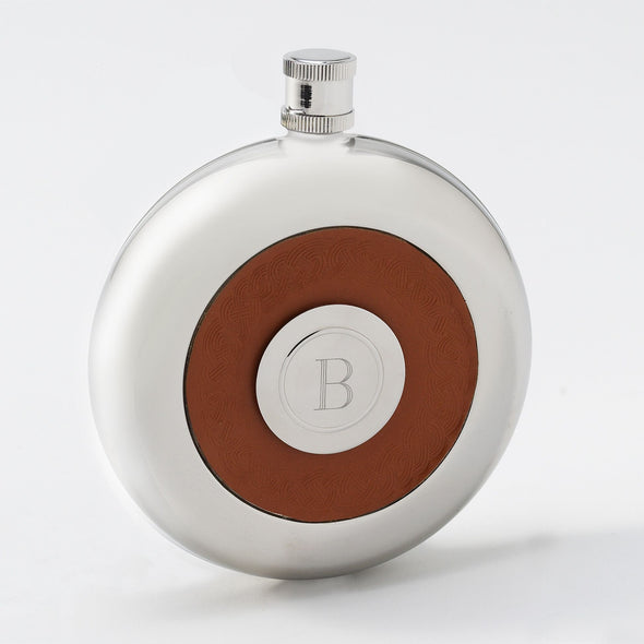 Personalized Leather Flask w/Shot -  - JDS