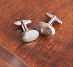 Personalized Cufflinks - Oval Brushed
