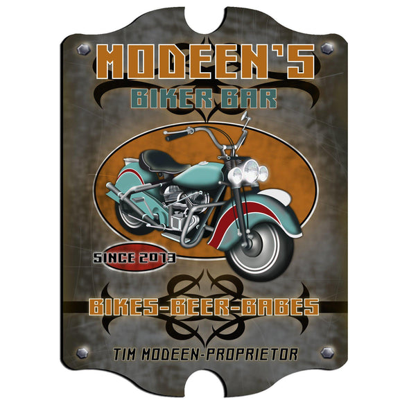 Personalized Vintage Series Pub Sign - Biker
