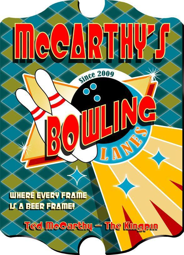 Personalized Vintage Series Pub Sign - Bowling