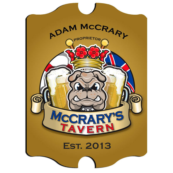Personalized Vintage Series Pub Sign - Bulldog