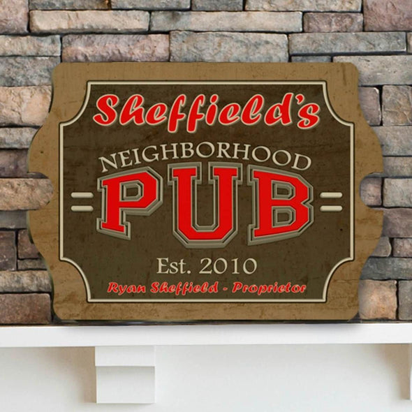 Personalized Vintage Series Pub Sign - Neighborhood - JDS