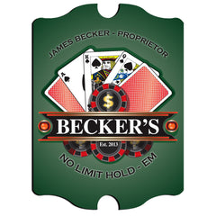 Personalized Vintage Series Sign - Poker - Man Cave Gifts - AGiftPersonalized