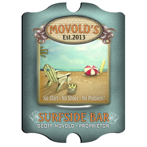 Personalized Vintage Series Sign - SurfsideBar - Man Cave Gifts - AGiftPersonalized