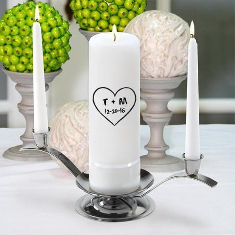 Personalized Premier Wedding Unity Candle w/Stand - CP11HeartOfLove - Candles - AGiftPersonalized