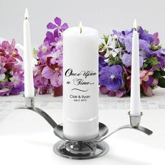 Personalized Premier Wedding Unity Candle w/Stand - CP1OnceUponATime