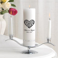 Personalized Premier Wedding Unity Candle w/Stand - CP2VintageHeart - Candles - AGiftPersonalized