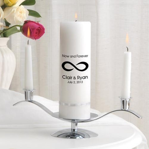 Personalized Premier Wedding Unity Candle w/Stand - CP5NowAndForever - Candles - AGiftPersonalized