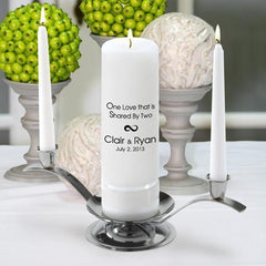 Personalized Premier Wedding Unity Candle w/Stand - CP6OneLove - Candles - AGiftPersonalized