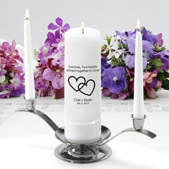 Personalized Premier Wedding Unity Candle w/Stand - CP7TwoLivesTwoHearts