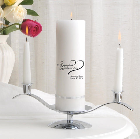Personalized Premier Wedding Unity Candle w/Stand - HEAHappilyEverAfter