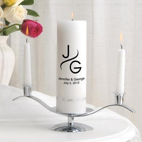 Personalized Premier Wedding Unity Candle w/Stand - MG1Modern