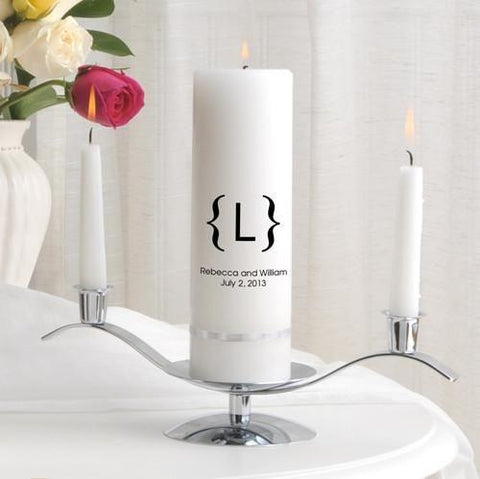 Personalized Premier Wedding Unity Candle w/Stand - MG4601Scroll