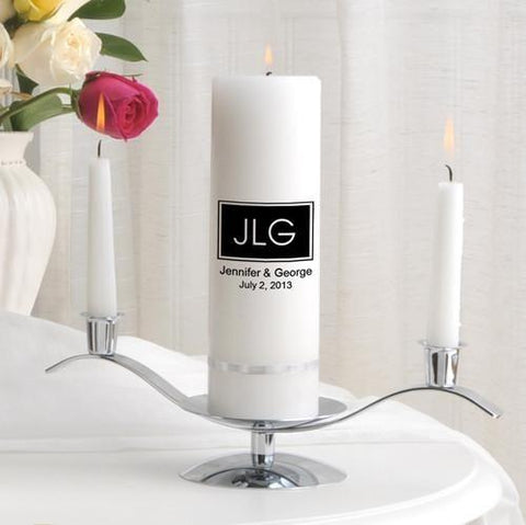 Personalized Premier Wedding Unity Candle w/Stand - MG9Remington