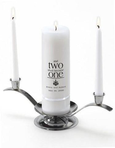 Personalized Premier Wedding Unity Candle w/Stand - Q14Ephesians
