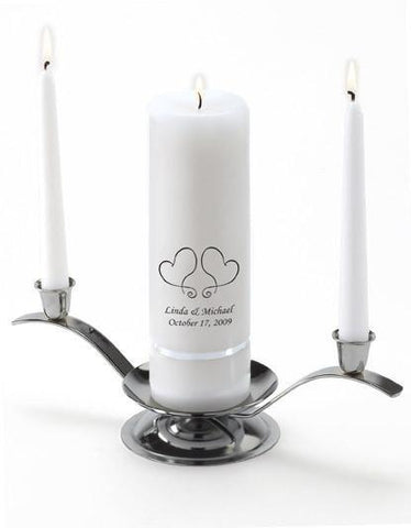Personalized Premier Wedding Unity Candle w/Stand - S17TwoHearts