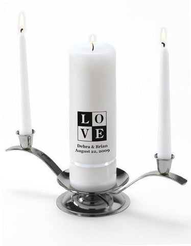 Personalized Premier Wedding Unity Candle w/Stand - T18Love